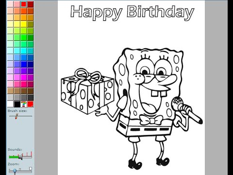 Spongebob Birthday Coloring Pages For Kids - Spongebob Birthday Coloring Pages Games