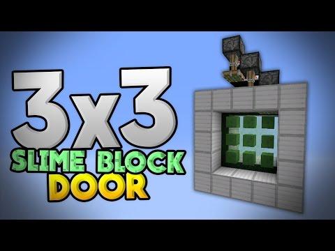3x3 SLIME BLOCK DOOR TUTORIAL - Compact Redstone Door in MCPE 0.15.0 - Minecraft PE (Pocket Edition)