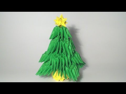 3D origami mini Christmas tree tutorial