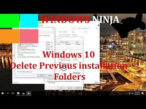 Windows 10 Delete Previous installation Folders (Windows.old and $Windows.~BT)