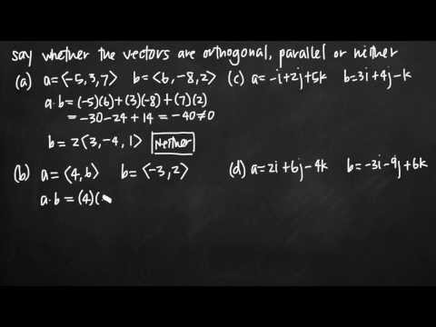 Orthogonal, parallel or neither (vectors) (KristaKingMath)