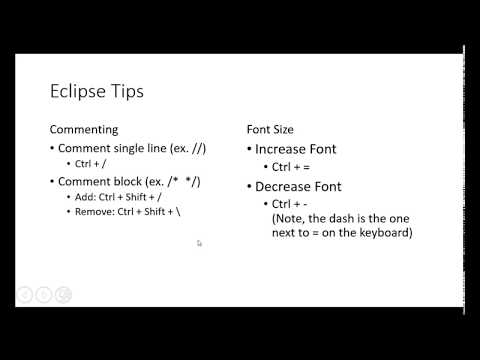 Comments and Font Size command for Eclipse Java