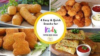 4 Quick & Easy Snacks Recipe for Kids Tiffin Box   Kids Lunch Box Ideas