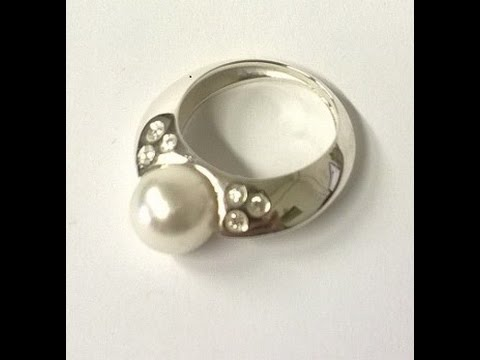 WHITE GOLD RING WITH AUSTRALIAN PEARL AND DIAMONDS , HANDMADE