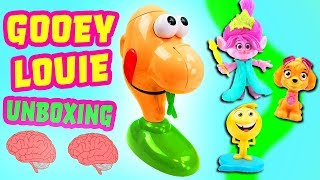 Gooey Louie Game Unboxing with Trolls Movie Poppy, Paw Patrol Skye and Emoji Movie Gene!
