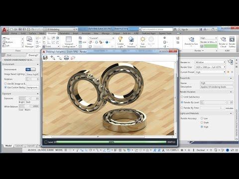3D Modeling -Bearing Tutorial - Apply Material + Rendering  AutoCAD 2017
