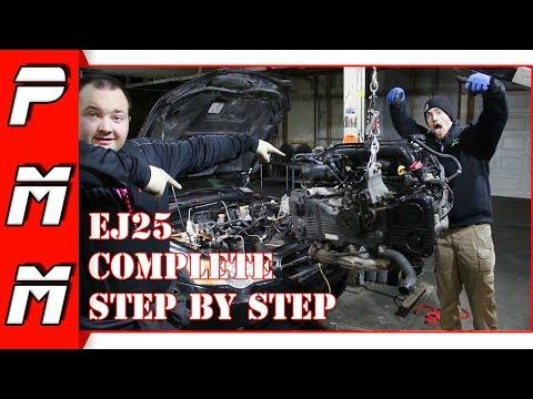 How To Subaru EJ25 Engine Removal Legacy GT Impreza WRX STI Forester OutBack