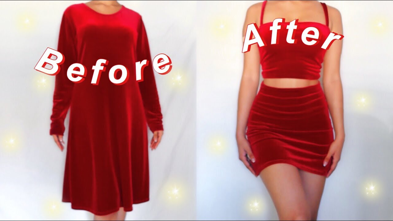 DIY TWO PIECE THRIFT FLIP// a dress to a skirt and crop top~ thrifting transformation~