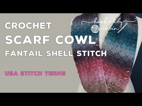 Fantail Shell Stitch infinity Scarf / Cowl - free easy pattern tutorial