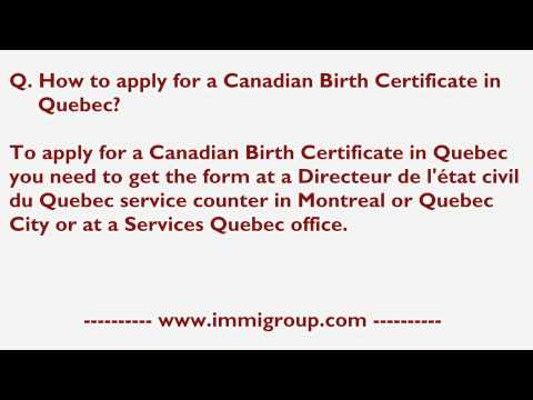 How To Apply For A Canadian Birth Certificate In Quebec?