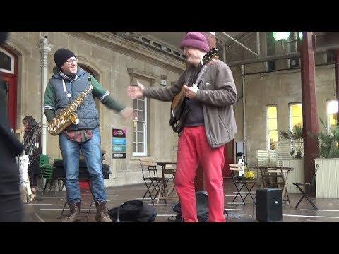 Jim Cook (sax) with Jez Broun (guitars) at Bath Artisan Market