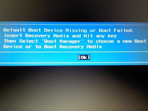 acer aspire default boot device missing