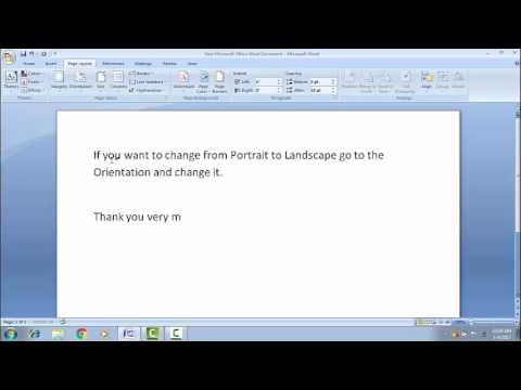 How to change from Portrait to Landscape word document.