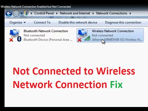 Wireless Network Connection Enabled but Not connected Fix Windows 7