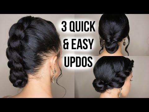 3 Quick & Easy Updo Hairstyles on Straightened Natural Hair