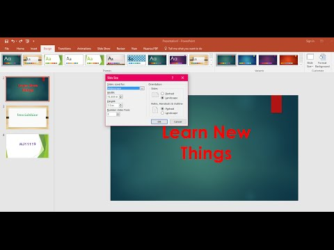 PowerPoint : How to Change Slide Size Portrait, Landscape (Slide Page Setup)