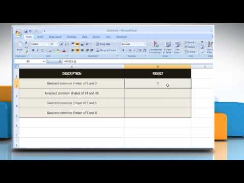 How to use the GCD ( Greatest Common Divisor)  function in Excel