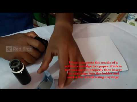 hp black ink cartridge refilling video using  Red Star ink refill kit