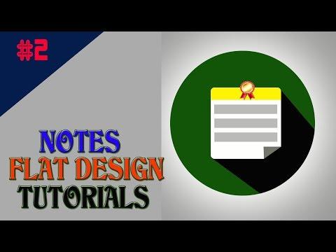 Notes Icon Flat Design | UI Design Tutorials | Adobe Photoshop