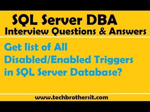 Get list of All Disabled/Enabled Triggers in SQL Server Database - SQL Server Tutorial