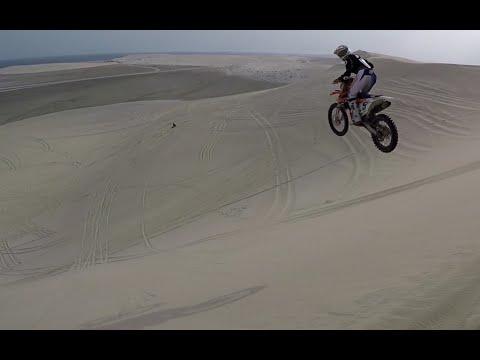 Dirt bike motocross dune jumps, Free ride in the Qatar desert. Part 1, Dec 2015