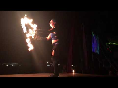 Lady Blaze spins fire fans at Wormtown 2016