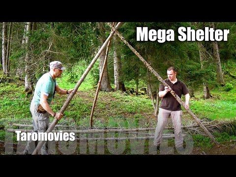 Mountain Overnight & Mega Shelter/HD Bushcraft Survival Video