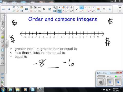 Comparing and Ordering Integers  7th Grade Math