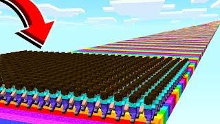 500 FANS vs INFINITE RAINBOW MINECRAFT ROAD!