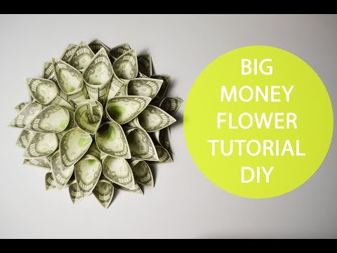Big Money Flower Origami Tutorial Folded DIY No glue Decoration