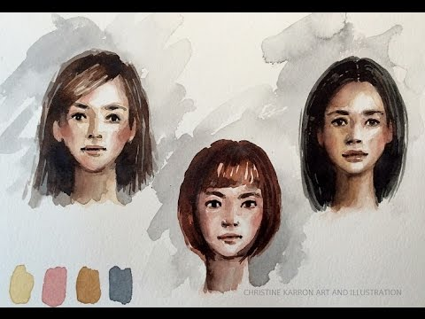 Watercolor portrait skin colors practice sketch demo by Ch.Karron