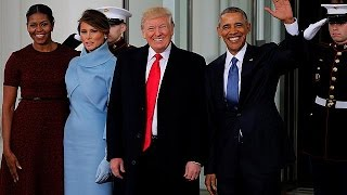 Los Obama y los Trump juntos en la Casa Blanca antes de la toma de posesión