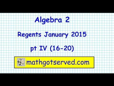 Algebra 2 / Trigonometry January 2015  NY Regents pt 4 # 16 -20 Trig New York  NYS state common core