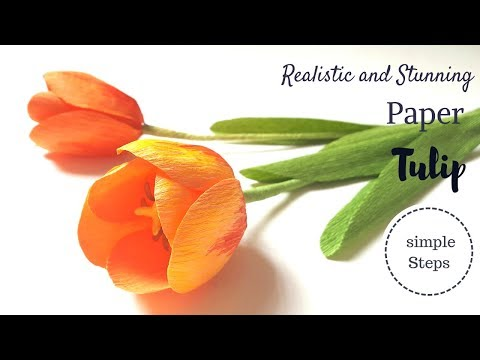 DIY- Crepe paper flower - How to make Tulip flower  - Realistic and easy