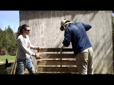 Cutting Pallets for Chicken Coop Build