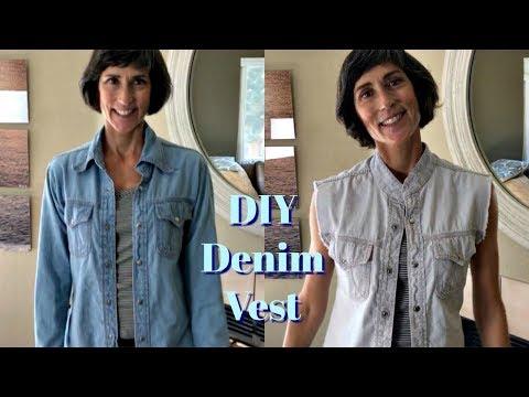 DIY ~ Denim Jacket To Vest ~ Cut, Fray & Bleach