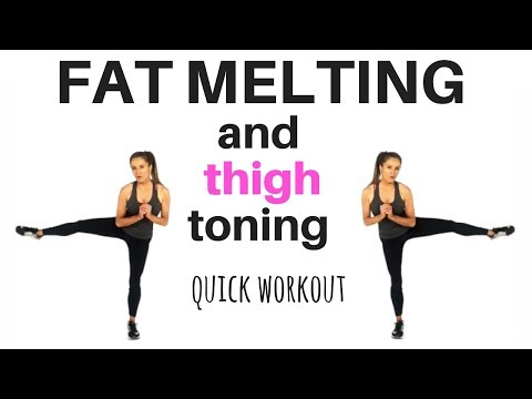 HOME WORKOUT - QUICK FAT BURNING AND THIGH TONING WORKOUT -  EXERCISES TO SCULPT YOUR THIGHS & LEGS
