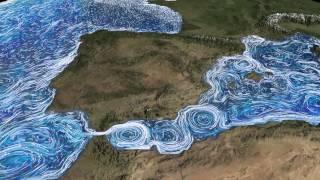 Ocean Current Flows around the Mediterranean Sea and Atlantic