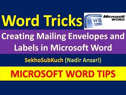 Creating Mailing Envelopes and Labels in Microsoft Word : Word Tips and Tricks [Urdu / Hindi]