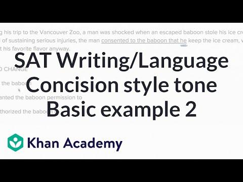 Writing: Concision — Basic Example 2 | Writing & Language | SAT | Khan Academy