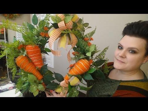 Easter Carrot Garden Wreath with DIY Carrots
