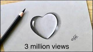 Water drop drawing of Heart !! simple way of Heart sketch