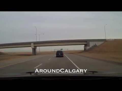 Driving Calgary - Chestermere To Calgary Airport HD Video Real Time