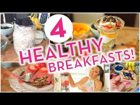 4 Super Easy Healthy Breakfast Ideas! Banana Pancakes, Overnight Oats, Energy Wrap, Rainbow Parfait!