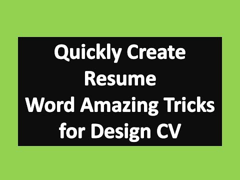 Quickly Create Resume in Microsoft Word : Word Amazing Tricks for Design CV