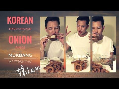[mukbang/aftershow with THIEN]: BonChon Korean Fried Chicken & Japchae, and Onion Rings