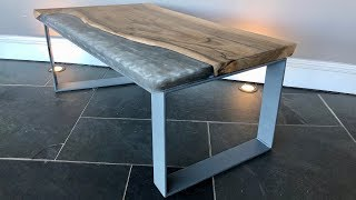 Grey Resin English Walnut Table on Metal base