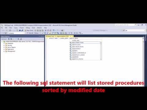 MSSQL -  List recently modified stored procedures