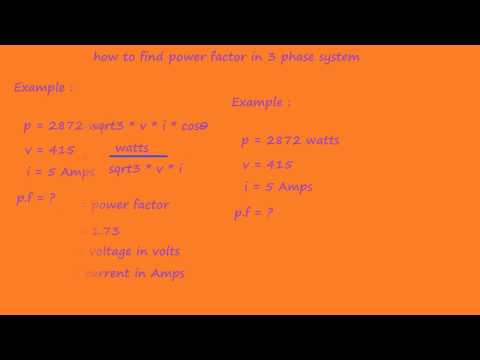 how to calculate power factor in 3 phse system - electrical formulas and calculations
