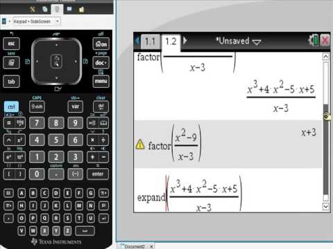 Ti Nspire CAS Polynomial Division with REMAINDERS